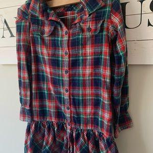 Ralph lauren girls plaid flannel dress sz 8